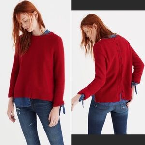 Madewell Red Button Back Crew Neck Sweater